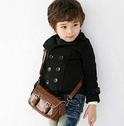 Discount toddler boy coats 4t - Wholesale-Mudkingdom New autumn baby boy trench coat outerwear button solid youth toddler children's warm clothing