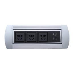 Usb Socket Power NZ - Guang Yi Manual Desk Socket With 3 Power 2 USB Charger Desktop socket for conference room office other