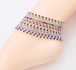 12pcs lot 12colors Silver Plated Fresh Full Clear Colorful Rhinestone Czech Crystal Circle Spring Anklets Body Jewelry on Sale
