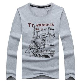Mens Shirt Material Canada - Plus Size O Neck T Shirts Men Long Sleeve Tshirts Fitness T-shirts Solid Color Fitted HipHop Mens Clothing Cotton Material Tees