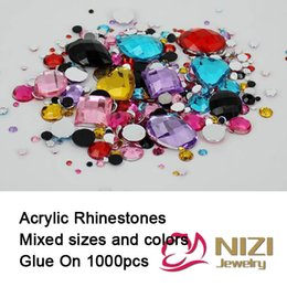 Rhinestone Flatback Acrylic Wholesale Pas Cher-Couleurs gros Strass-Mix Mix Tailles rondes acrylique non-Hotfix Strass Flatback Nail Art Pierres Pour mariage Strass Décorations