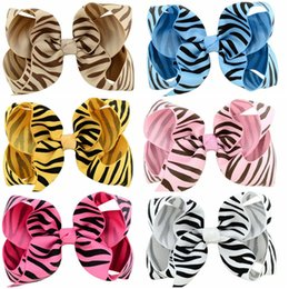 bb kids hair clips Canada - Baby Girls Hair Accessories Clips 4 Inchs Infants zebra Striped Bowknot With Clip for School Trendy BB Hairpins Kids Hair Ribbons Bow