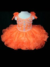 Robe Cupcake Baby Boy Girl Pas Cher-Pageant Robes Filles Orange Ball Robes Organza Perles Cristal Cupcake Dress Pour Petit Bébé Enfants 2015 Fille Occasion Spéciale Party Robes