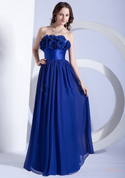 Vestido Floral Azul Formal Baratos-2016 Floral Royal Blue Formal Homecoming Vestidos Strapless A Line Prom Vestidos largos de dama de honor 2015 con flor hecha a mano