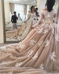 square lace up back wedding dresses NZ - 2018 Medieval Ball Gown Wedding Dress Lace Up Champagne Long Train Off The Shoulder Bridal Gowns With Sleeves Plus Size