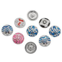 oil bracelets 2019 - SALE! 20PCS 2015 arrive New noosa Snap Buttons Charms Rhinestone Pattern Carved Oil Drip Spiricle Fit Snap Bracelets gin
