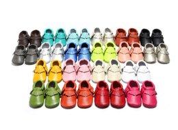 Kids Anti Slip Shoes Canada - New Genuine Leather Baby kids shoes Infant Toddler girl boy Anti-slip Tassel Moccasins 20 colors Autumn fringe soft sole
