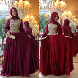 Fuchsia Burgundy Long Sleeves Muslim Evening Dress 2016 Saudi Arabic High  Neck Dubai Kaftan Prom Dresses Women Maxi Dress Formal Party Gown 35c8d58c6