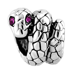 pandora spacers UK - Customized Wholesale and Retail Purple Crystal Eye SNAKE European spacers girls Bead Charm Fit Pandora Bracelet