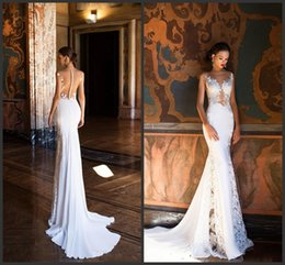 2020 Nova Milla Nova Sereia vestidos de casamento Sexy Sheer Neck Open Back completa Lace Wedding Dress Praia vestidos de noiva 392 em Promoção