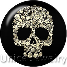 $enCountryForm.capitalKeyWord NZ - AD1301101 12,18,20mm Snap On Charms for Bracelet Necklace Hot Sale DIY Findings Glass Snap Buttons Jewelry Skull Design noosa