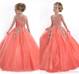 $enCountryForm.capitalKeyWord Canada - 2016 New Pink Tulle Flower Girls Dresses For Party Vintage Special Occasion For Kids Ball Gown Formal Beaded Little Girls Gageant Dresses