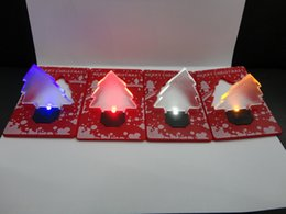 christmas tree shaped plastic ornaments NZ - New Christmas DecorationPocket Folding Xmas Tree Shape LED Light Credit Card TY1613