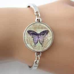 butterfly chain bracelets silver Australia - Vintage Purple Butterfly Bracelet,Glass Tile Pendant Bangle,Silver-plated Charm 2016 New Women Bangle,Hot Sell Jewelry GL005