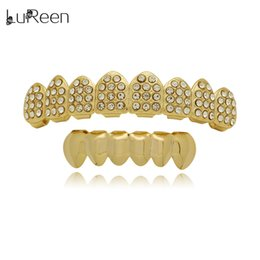 $enCountryForm.capitalKeyWord NZ - LuReen 14K Gold Silver Plated Bling Bling 8 Top and 6 Smooth Bottom Teeth Grillz Hip Hop Teeth Set Party Gift Jewelry