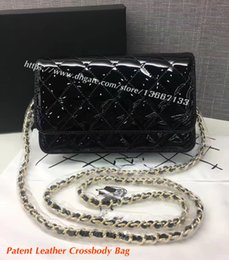 $enCountryForm.capitalKeyWord Canada - Factory Price Women's Mini Crossbody Bag 20CM Black Genuine Patent Leather Flap Chain Bag Female Fashion Shoulder Messenger Bags