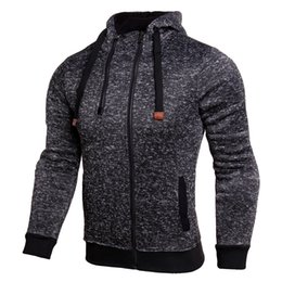 Barato Casacos Com Zíper Duplo-Atacado 2017 Autumn Men Hoodies Sportwear Moda Double Zipper Hooded Sweatshirts Outwear Sólido Slim Fit Masculino Hoody Sweatshirts Jacket