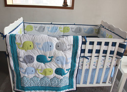 hot baby bedding NZ - Hot selling Baby bedding set Embroidery 3D ocean whale Crib bedding set 100% cotton Bedskirt Quilt Bumper Cot bedding set