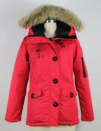 Barato Mantenha Quente Outwear-Famoso Brand New estilo Mulheres Canadá Overcoat Jacket Winter Coat Feminino Roupas com capuz Real White Goose Down Lady's Jacket <b>Keep Warm Outwear</b>
