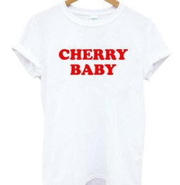Cotton Cherry Australia - CHERRY BABY Red Letters Print Women Tshirt Cotton Casual Funny T Shirt for Lady Girl Top Tee Hipster Tumblr