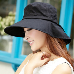 1859ee21c79 Wholesale-free shipping Korean female summer sun hat UV sun large brimmed hat  folding cycling summer hats for women