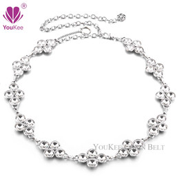 ladies chain belts Australia - 2016 New Arrival Big Crystal Flower Rhinestones Belt Silver Plated Alloy Waist Chain Belt Metal Ladies Belt Ceinture Femme All-match BL-736