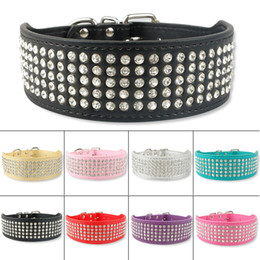 $enCountryForm.capitalKeyWord NZ - (5 Colors 5 Sizes) Mixed order 2inch wide 5 rows rhinestone leather dog collars diamante dog collars