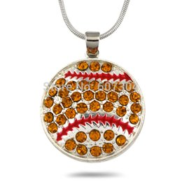 $enCountryForm.capitalKeyWord Canada - Retail 10Pcs lot Zinc Alloy Metal Plating Single-sided Enamel Crystal Baseball Sports Pendant Necklaces