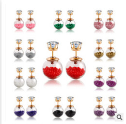20 цветов летний стиль стекло Стад серьги Серьги с бриллиантами Жемчужина изысканные ювелирные изделия мода прозрачный хрустальный шар серьги ювелирные изделия m468 на Распродаже