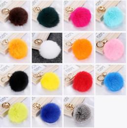 $enCountryForm.capitalKeyWord Canada - Fashion Cute Genuine Leather Rabbit Fur Ball Plush Key Chain For Car key Ring Bag Pendant car keychain Gold Silver Chain 8CM