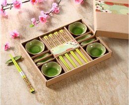 japanese ceramic sets Canada - Japanese Ceramic Sushi Serving Gift Set for Four with Small Snacks Dishes Chopsticks and Rests Olive Green Ice Crackle Glaze