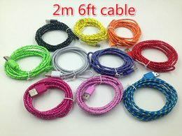 Long Usb Extension Cable Canada - 1M 2M 3M Fabric Braided Nylon Sync Cloth Woven Universal Micro USB Cable Cord Extra Long Extension For Samsung HTC 10 Colors Data Cable
