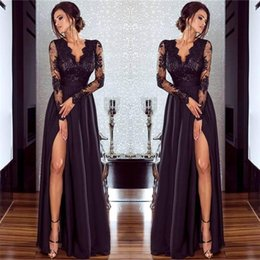 Barato Vestido Preto Profundo Do Laço V-Sexy Black Prom Dresses Side Split Lace Deep V Neck Longo Ilusão Sleeves Simples Backless Pavimento Comprimento Formal Evening Prom Vestidos Cheap Gown