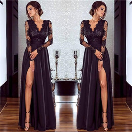 Barato Simples Vestidos De Baile Sem Costas-Sexy Black Prom Dresses Side Split Lace Deep V Neck Longo Ilusão Sleeves Simples Backless Pavimento Comprimento Formal Evening Prom Vestidos Cheap Gown