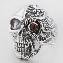$enCountryForm.capitalKeyWord Canada - Red Eye Skull 925 Sterling Silver Mens Biker Ring 8S006A US Size 8~14 Free Shipping