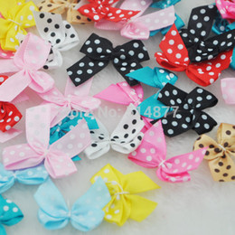 Barato Presente Cetim Fita Artesanato-Atacado- 50pcs Dot Satin Ribbon Flowers Arcos Gift Craft Wedding Decoration Upick B0163