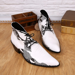 $enCountryForm.capitalKeyWord NZ - Kroean Style Pointed Toe White Mens Boots Martin Boots Snake Cowboy Boots Western Male Genuine Leather Lace-Up Oxfords Outdoor Shoes Man