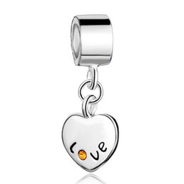 $enCountryForm.capitalKeyWord UK - Valentines Day jewelry metal lovely crystal love heart European style dangle bead infant lucky charms Fits Pandora charm bracelet