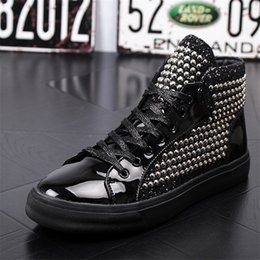 Brand High Board Shoes Canada - New Mens Brand Skating Board Shoe Genuine Leather Flats Men's Youth Fashion Rivets Sequins High-Top Casual Shoes Nightclub Party Shoes