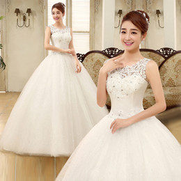 china wedding shop Canada - Cheap China 2015 Autumn and Winter new bride shoulder lace wedding dress Princess Korean Shop plus size Wedding dress