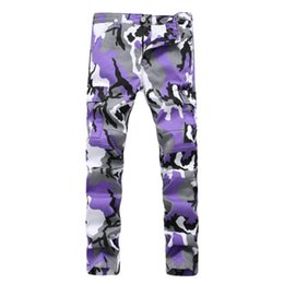 pocket decorations NZ - Fashion Camouflage Printing Men's Jeans Pants Pocket Decoration Cargo Pants Demin Straight Casual Pant Four Color Avaiable