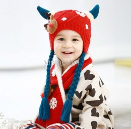 $enCountryForm.capitalKeyWord NZ - Wholesale-2015 Fashion Cartoon deer style boys Knitted hats winter 2 pcs baby girl scarf hat fur set Age for 8 months-3 Years Old