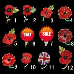 Discount acrylic flower brooches - women children bling Crystal Rhinestone Brooches Princess Kate royal poppy flower brooch charms jewelry lady kids Chirst