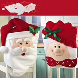 2Pcs Perfect Elderly Couple Chair Back Covers Lovely Red Hat Dining Great Decoration For Enhance Christmas