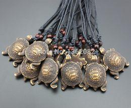 $enCountryForm.capitalKeyWord Australia - 12pcs Imitation Yak Bone Powder Carving Tribal Style Lucky Turtles Charm Pendant Adjustable Cord Necklace Gift MN332