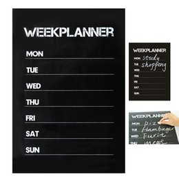 chalk wall stickers Australia - HOT Weekly Plan Planner Memo Chalk board Blackboard Wall Sticker Decal Removable Free Shipping, dandys