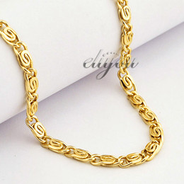 $enCountryForm.capitalKeyWord Canada - Yellow Rose Gold Filled Necklace Mens Womens Chain Snail Link Wholesale Fashion Jewelry Gift 4.5mm LGN216