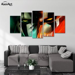 bleach figures UK - Canvas Painting Cartoon the Bleach Wall Art Printed Artwork Poster for Living Room Framed Ready to Hang Dropshipping