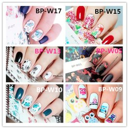 Feather Sheets Canada - Wholesale- Flower Cute Owl Leaf Feather Nail Art Stickers 1 Sheet Water Transfer Decals Nails Wraps BP-W Born Pretty Nail Stickers