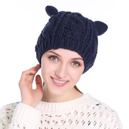 cat ears beanie knitted Canada - 017 Winter Harajuku Woolen Knitting Beanie Devil Horns Cat Ear Crochet Braided Knitted Fur Cap Cute Girls Hat